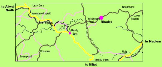 Map Rhodes Reservations in Rhodes  Drakensberg (EC)  Eastern Cape  South Africa