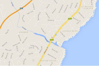 Map Aride Holiday Apartments in Uvongo  South Coast (KZN)  KwaZulu Natal  South Africa