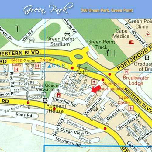 Map Green Park Studio in Green Point  Atlantic Seaboard  Cape Town  Western Cape  South Africa
