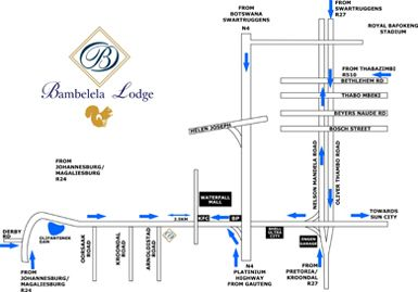Map Bambelela Lodge in Rustenburg  Bojanala  North West  South Africa