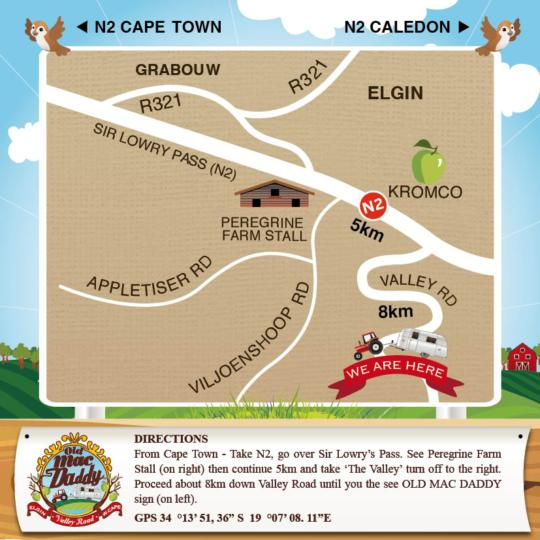 Map Old Mac Daddy in Grabouw  Overberg  Western Cape  Zuid-Afrika