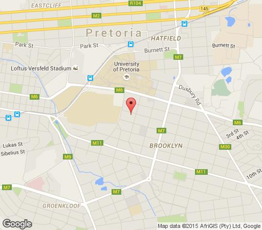 Map About Guest Lodge in Brooklyn (PTA)  Pretoria Central  Pretoria / Tshwane  Gauteng  Suid-Afrika