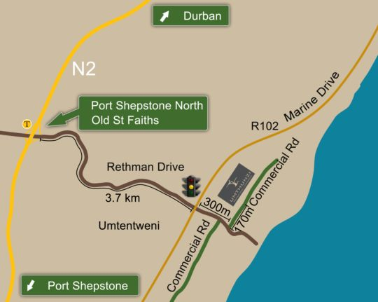 Map Umthunzi Hotel & Conference  in Umtentweni  South Coast (KZN)  KwaZulu Natal  South Africa