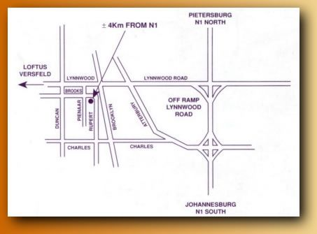 Map Brooks Cottage in Brooklyn (PTA)  Pretoria Central  Pretoria / Tshwane  Gauteng  South Africa
