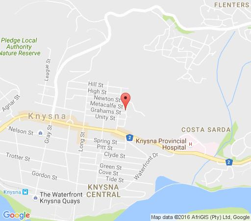 Map Travellers Lodge and backpackers in Knysna  Garden Route  Western Cape  South Africa
