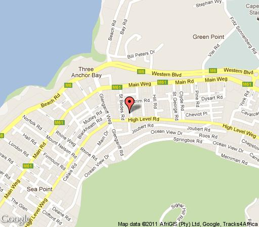 Map Milford House in Three Anchor Bay  Atlantic Seaboard  Cape Town  Western Cape  South Africa