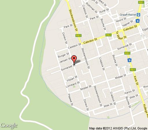 Map Somerset Stables Bed and Breakfast in Graaff-Reinet  Cacadu (Sarah Baartman)  Eastern Cape  South Africa