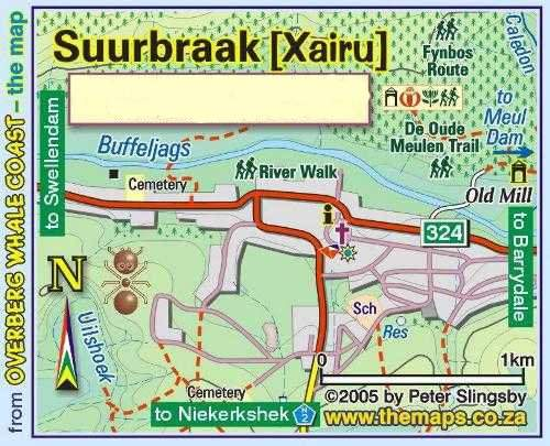 Map Green Fig Guesthouse, Suurbraak  in Suurbraak  Klein Karoo  Western Cape  South Africa
