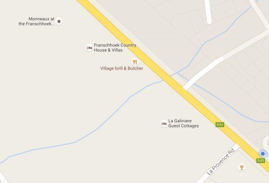 Map La Galiniere Guest Cottages in Franschhoek  Cape Winelands  Western Cape  Afrique du Sud