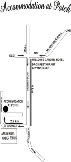 Map Accommodation at Potch Guesthouse  in Potchefstroom  Southern (NW)  North West  South Africa