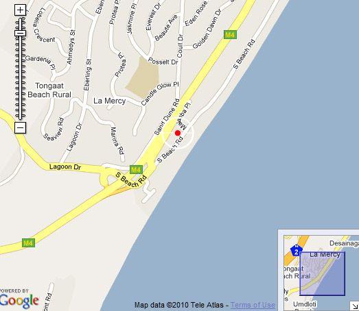 Map Coral Reef in La Mercy Beach  North Coast (KZN)  KwaZulu Natal  South Africa