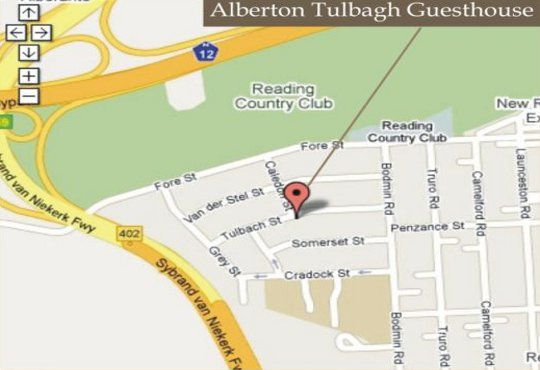 Map Alberton-Tulbagh Guest House in Alberante Extension  Alberton  Ekurhuleni (East Rand)  Gauteng  South Africa