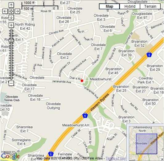 Map Twin Waters Guest House in Olivedale  Randburg  Johannesburg  Gauteng  South Africa