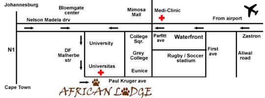 Map African Lodge Bloemfontein in Bloemfontein  Mangaung  Free State  South Africa
