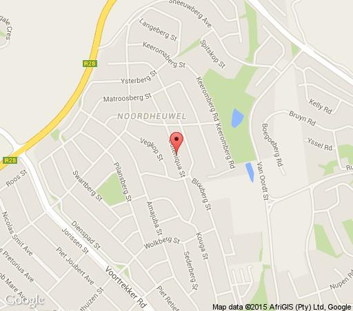 Map Magaliqua Guest House in Noordheuwel  Krugersdorp  West Rand  Gauteng  South Africa