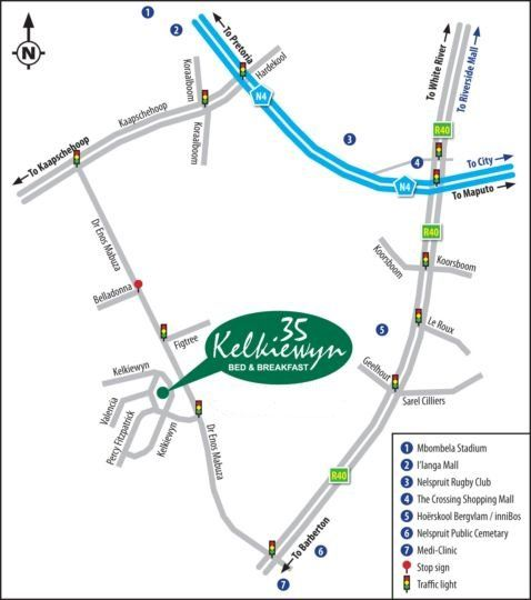 Map 35 Kelkiewyn B&B in Nelspruit  Lowveld  Mpumalanga  South Africa