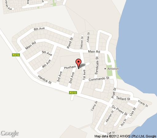 Map Arniston Holiday Cottage in Arniston  Overberg  Western Cape  South Africa