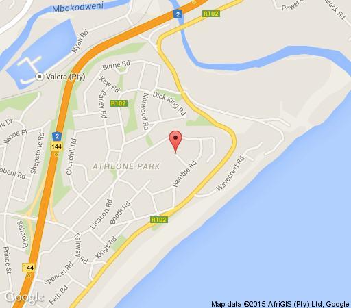 Map Anchors Boutique Lodge in Amanzimtoti  South Coast (KZN)  KwaZulu Natal  Zuid-Afrika