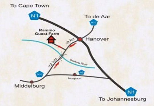 Map Ramino Guest Farm in Hanover  Upper Karoo  Northern Cape  South Africa