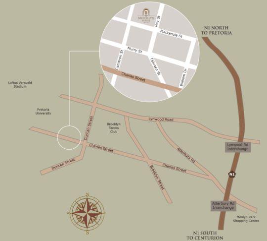 Map Brooklyn Place Guesthouse in Brooklyn (PTA)  Pretoria Central  Pretoria / Tshwane  Gauteng  South Africa