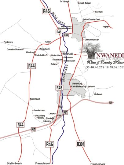 Map Nwanedi Wine and Country Manor in Paarl  Cape Winelands  Western Cape  South Africa