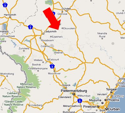Map The Springbok Lodge in Ladysmith  Battlefields  KwaZulu Natal  South Africa