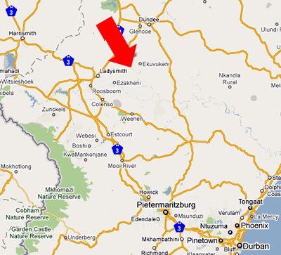 Map The Springbok Lodge in Ladysmith  Battlefields  KwaZulu Natal  Südafrika