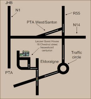 Map Lecawi Guesthouse  in Centurion Central  Centurion  Pretoria / Tshwane  Gauteng  South Africa
