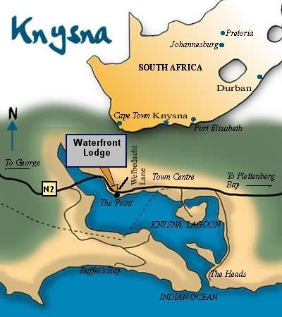 Map Waterfront Lodge in Knysna  Garden Route  Western Cape  South Africa