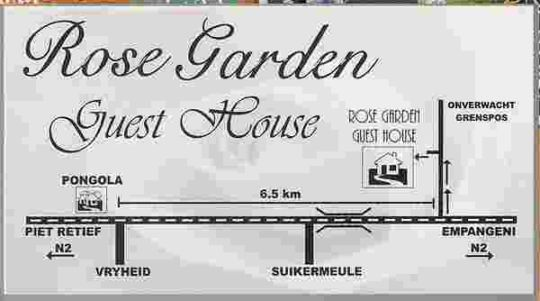 Map Rosegarden Guesthouse in Pongola  Zululand  KwaZulu Natal  South Africa
