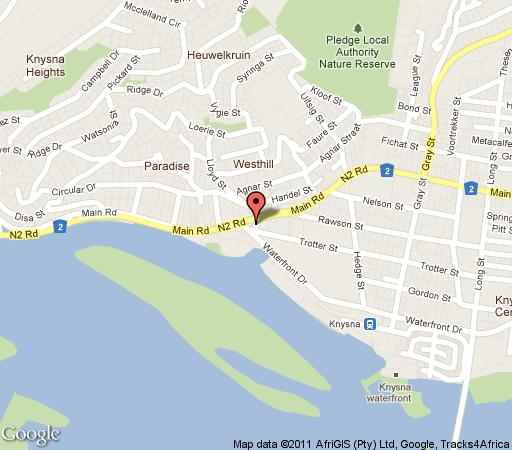 Map Summer Place 9 in Knysna  Garden Route  Western Cape  South Africa