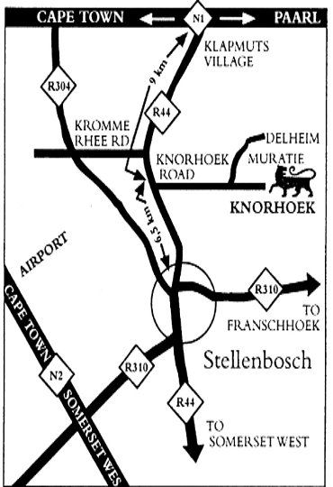 Map Knorhoek Country Guesthouse  in Stellenbosch  Cape Winelands  Western Cape  South Africa