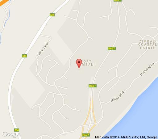 Map Afro-Uluwatu Lodge in Zimbali  North Coast (KZN)  KwaZulu Natal  South Africa