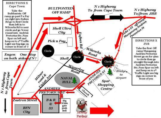 Map B&B @t 53 in Bloemfontein  Mangaung  Free State  South Africa