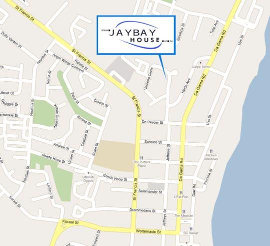 Map JayBay House in Jeffreys Bay  Cacadu (Sarah Baartman)  Eastern Cape  South Africa