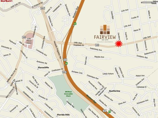 Map All Suite on 14th in Fairland  Northcliff/Rosebank  Johannesburg  Gauteng  South Africa