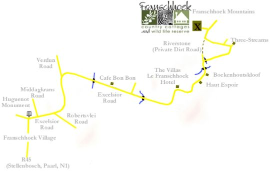 Map Franschhoek Country Cottages in Franschhoek  Cape Winelands  Western Cape  South Africa