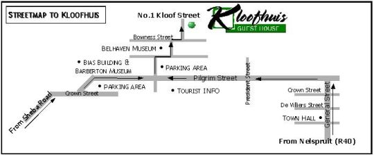 Map Kloofhuis Guest House in Barberton  Lowveld  Mpumalanga  South Africa