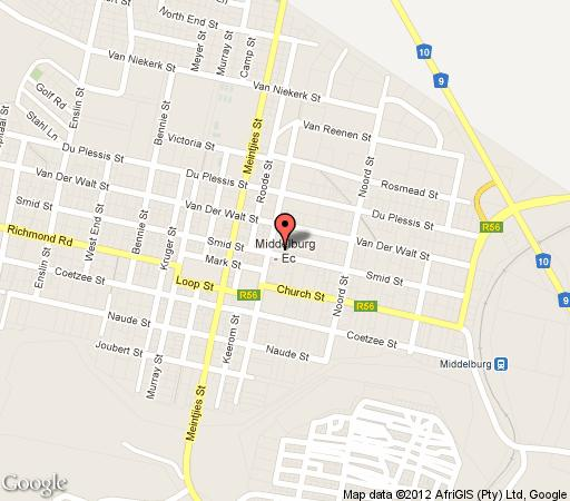 Map Dwarsvlei Country Home in Middelburg (EC)  Stormberg District  Eastern Cape  South Africa