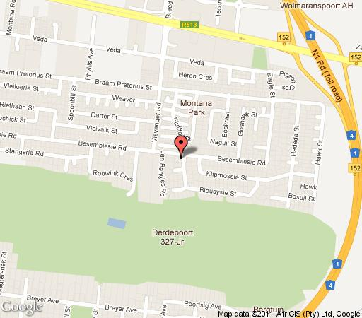 Map Aves Indigo Guesthouse in Montana (PTA)  Pretoria North  Pretoria / Tshwane  Gauteng  South Africa