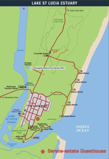 Map Serene-estate Guesthouse in St Lucia  Zululand  KwaZulu Natal  South Africa