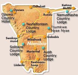 Map Auob Country Lodge in Gochas  Hardap  Namibia