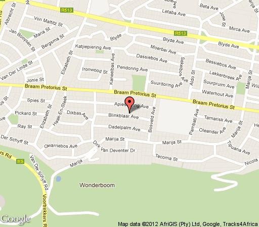 Map The Coral Tree House in Wonderboom  Pretoria North  Pretoria / Tshwane  Gauteng  South Africa