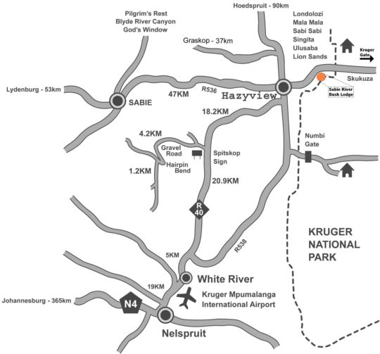 Map Sabie River Bush Lodge in Hazyview  The Panorama  Mpumalanga  South Africa