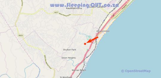 Map Graceland Guest House in Amanzimtoti  South Coast (KZN)  KwaZulu Natal  South Africa