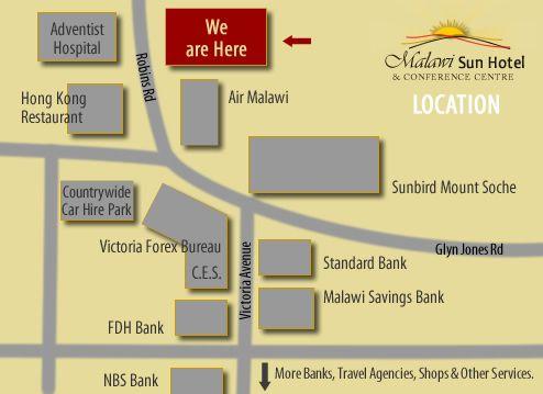Map Malawi Sun Hotel in Blantyre  Malawi