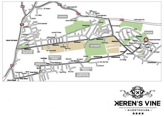 Map Keren\'s Vine in Stellenbosch  Cape Winelands  Western Cape  South Africa