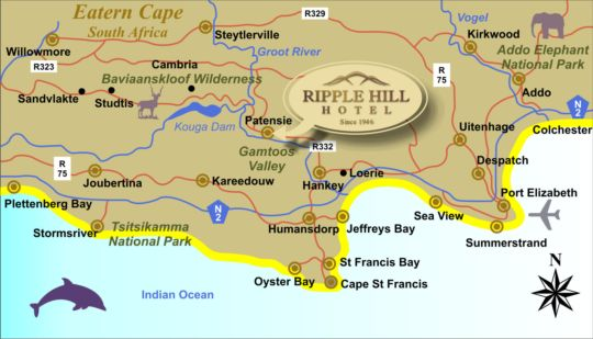 Map Ripple Hill Hotel in Patensie  Cacadu (Sarah Baartman)  Eastern Cape  South Africa