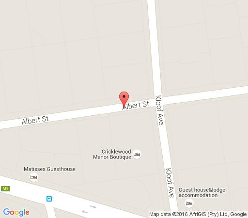 Map Cricklewood Manor Boutique Hotel in Waterkloof  Pretoria East  Pretoria / Tshwane  Gauteng  South Africa