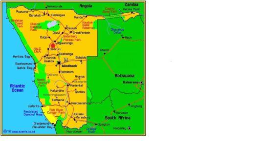Map Omaha Guest Farm in Otjiwarongo  Otjozondijupa  Namibia